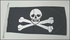 Jolly Roger ( Pirate ) Flags - Knitted Polyester - 600 x 300mm