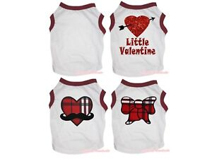 Valentine Red White Top T-Shirt Plaid Heart Pet Cat Dog Puppy One Piece Clothes
