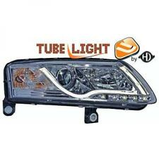 LHD Projector Headlights Pair LED lightbar DRL Clear Chrome For Audi A6 04