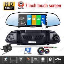 7'' HD 1080P Dual Lens Car DVR Vehicle Rearview Mirror Camera Recorder Dash Cam