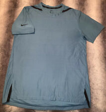 Men's Nike Tech Pack Knit Dri-Fit Logo Shirt Light Blue Black Size Large NEW