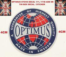 OPTIMUS STOVE 111,111B 8R REPLACEMENT TIN BOX DECAL STICKER PRIMUS STOVE