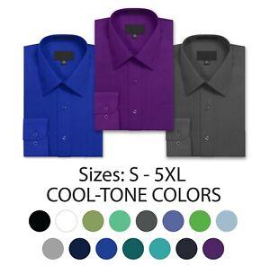 Allsense Men Long-Sleeve Button-Down Dress Shirt (Cool Colors)