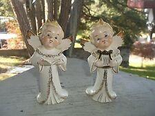 "2 Vintage Made In Japan Children Angel Figurine Lyre Choir Book 5"""