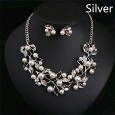 Pearls Crystal Tree Leaves Necklace Earring  Elegant Ladies Luxury Jewelry Set''
