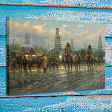 Print Canvas G. Harvey Art Painting Cowboy In The Street Home Wall Decor 12x16