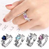 Fashion Lady Silver Aquamarine Leaf Flower Wedding Engagement Ring Size 6-11