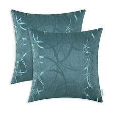 "2Pcs Teal Cushion Covers Throw Pillow Case Modern Circles Rings Geometric 16x16"""