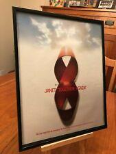 """BIG 11x14 FRAMED JANET JACKSON """"VELVET ROPE"""" LP ALBUM CD PROMO AD + BIG 2-PAGER!"""