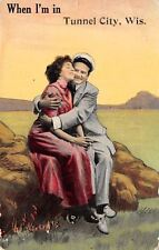 """""""When In"""" Tunnel City Wisconsin~Fashionable Couple Embrace on Rock~1912 Postcard"""