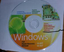 WINDOWS 7 32 & 64 bit Recovery ReInstall Repair DvD Home basic Premium & Pro