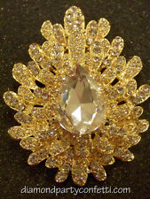 Large Gold Rhinestone Brooch Cake Flower Bouquet Pin Decoration Jewelry Item#12