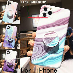 For iphone SE 2020 11 Pro Max 8 Lovely Colorful Marble Airbag Stand Holder Case