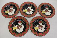 Set of 5 Laurie Gates Ware HOLIDAY JOY Snowman Luncheon or Salad Plate 9.75""