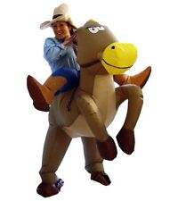 Inflatable Horse Halloween Costume Cowboy Cowgirl Adult Blow Up Rider on Outfit
