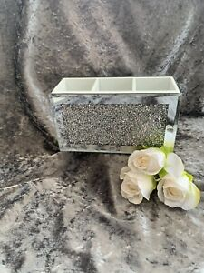 Crushed Crystal Mirrored Beauty Box! Remote Holder Makeup Brush Holder Bling!