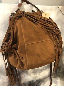 IL BISONTE Talamone Fringed Suede Convert. Hobo Shoulder Bag Backpack Italy Made