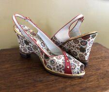 Vintage 1950's Murray Bender Shoes Pinup Peep Toe Sling Wedge Sandal Sz 10