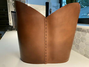 """NEW Decorative Leather Basket 14.75"""" x 15"""" Brown - Threshold™ with Studio McGee"""