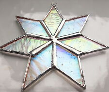 More details for clear iridescent star stained glass suncatcher window wall hanging home decor