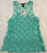 Junior's Say What? Mint Green Crochet Floral Print Top Size Large NWT $32 CUTE!