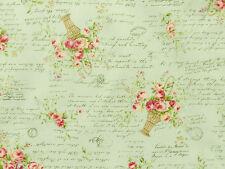 Patchworkstoffe Lecien Rosenstoffe rosa Rosen Rosensträuße Schrift zart grün BW