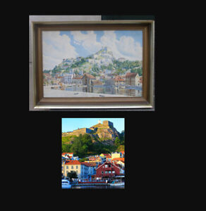 Mimi Bille (1868). Scenic view over Halden, Norway. Dated 1910. Large watercolor