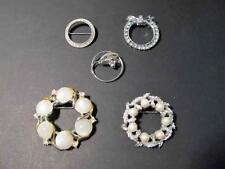 Lot (5) Vintage CIRCLE Shape Rhinestone Pin Brooch Please view all pictures