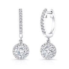 1.40 CARAT G SI1 HALO DIAMOND DROP EARRINGS MICRO PAVE SET IN 18K WHITE GOLD