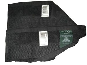 Lauren Ralph Lauren Two (2) Greenwich Black Wash Cloths - New With Tags