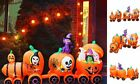 9 Ft Halloween Inflatable Pumpkin Train with Ghost Witch Cat Decoration Blow