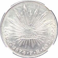 Mexico 8 Reales Go 1874/3 F.R. Guanajuato, Overdate. NGC MS62. KM# 377.8