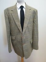 "H506 MENS BROOK TAVERNER GREEN BROWN CHECK COLLARED WOOL BLAZER UK XL 44"" EU 56"
