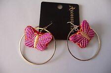 CARDED PINK BUTTERFLY earrings (pierced ears) by Monsoon Accessorize NEW £8.00