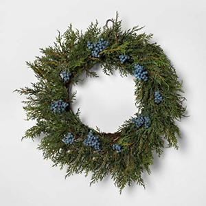 "Hearth & Hand with Magnolia 18"" Faux Juniper Wreath with Berries Damaged"