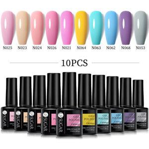 UR SUGAR 10Pcs/Set Gel Nail Polish Neon Gel Soak Off UV LED Glitter Gel Varnish