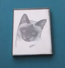 Box of 10 Vintage D.K. Dennis Note Cards With Envelopes Siamese Cat
