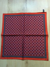 Macclesfield Silk Red & Blue Paisley Floral Silk Pocket Square