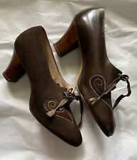Brown Leather And Suede True Vintage 1920's Flapper Shoes