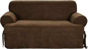 Sure Fit Suede  BOX Cushion - T-LOVESEAT Slipcover - Chocolate