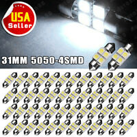 50X White 31MM 5050 4SMD LED Festoon Interior Dome License Plate Light bulbs