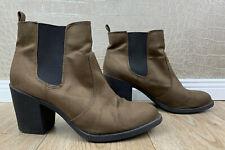 H&M Damen Gr. 41 Stiefeletten Ankle Chelsea Boots High Heels Velours braun R2