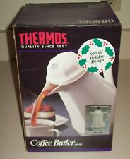 Thermos Coffee Butler Carafe Christmas Holiday Design West Germany White 430H