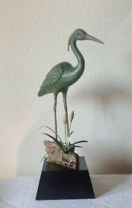 "SPI San Pacific International Crane Heron In Marsh Metal Bird Sculpture 16"" Tall"