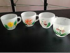 federal glassware Beautifully hand painted frosted tea cup set