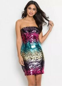 Womens Strapless Off the Shoulder Multicoloured Sequin Bodycon Party Dress