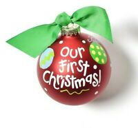 "Coton Colors by Laura Johnson /""Merry Christmas/"" 4/"" glass ornament"