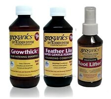Groganics Growthick Hair Fattening Shampoo, Volumizing Conditioner & Root Lifter