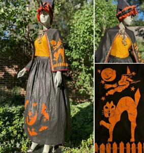 AWESOME VINTAGE 1930s WITCH HALLOWEEN COSTUME WITH SHIRT, HAT, CAPE & SKIRT