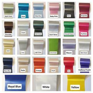"100mm (4"") extra wide Satin Sash Ribbon Wedding Ribbon Chair Bows 25 Colours"
